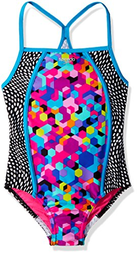 (Speedo Girls Hexaplex Thin Strap Swimming One Piece, Rainbow Brights, Size 8)