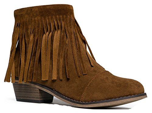Breckelles Women Suede Fringe Cap Toe Ankle Booties, New Tan - 7 B(M) US (Old West Outfit)