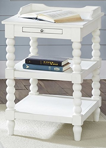 Casual-Distressed-Sasha-End-Table-with-Bead-Molding-White