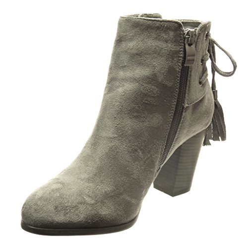 Angkorly - damen Schuhe Stiefeletten - Hohe - Bommel - Franse - Spitze Blockabsatz high heel 7.5 CM - Grau