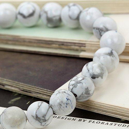 Flongo 10mm Bracelets d'énergie Lien Poignet Pierre d'Énergie Blanc Turquoise Boule Perle Fantaisie Bijoux Cadeau pour Femme Homme