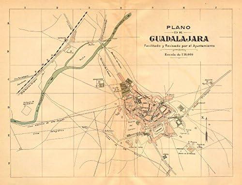 Guadalajara Espaã ± a Plano Antiguo Cuidad Antiguo Pueblo/Ciudad Plan. Martin c1911 Mapa: Amazon.es: Hogar