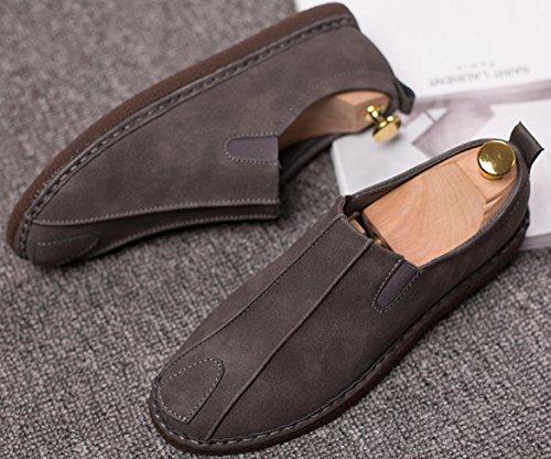 Chaussures De Conduite Hommes En Cuir Classique, Homme Mocassins Appartements Oxford Chaussure Slip Sur 2 Couleurs Taille 6.5-9 Gris
