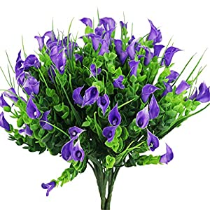 E-HAND Lily Artificial Flowers Outdoor UV Resistant Fake Plants Cemetery Faux Shrubs Calla Plastic Greenery 50
