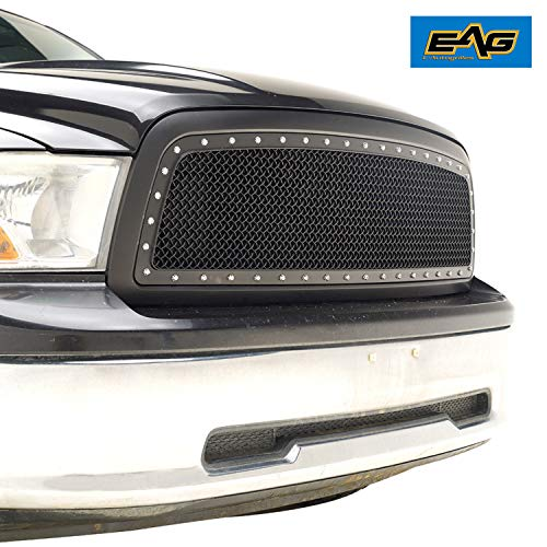- EAG Replacement Grille Rivet Mesh Front Upper ABS Grill Fit for 09-12 Dodge Ram 1500 - Matte Black