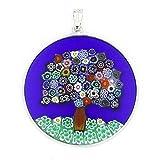 GlassOfVenice Murano Glass Millefiori Pendant ''Tree of Life'' in Silver Frame 1-1/2''