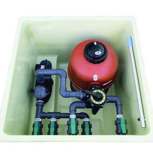 Caseta para piscinas semi enterrada (Piscina de 8x4 o 50 m3) + Filtro D.500 Neptuno+Válvula Selectora+Bomba MEDIO CABALLO+REGALO 2 FOCOS DE LED: Amazon.es: ...