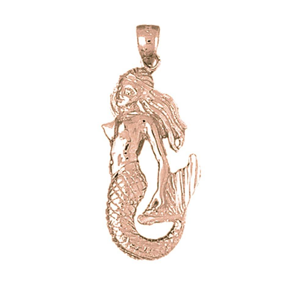 Amazon 14k Rose Gold Mermaid Pendant 36 Mm Jewelry