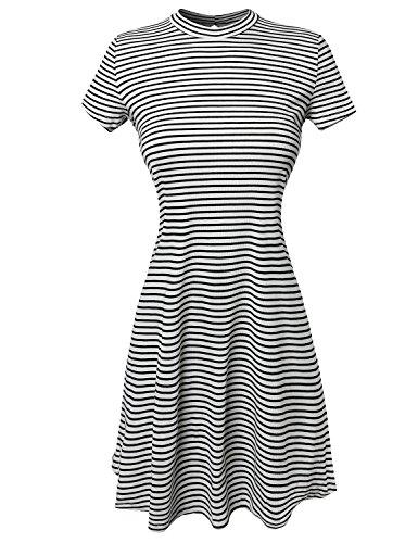 Short Sleeve Keyhole Ribbed Striped Trapeze Dress White Black Size (Black And White Striped Flower Girl Dress)