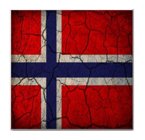 Norway Flag Crackled Design Tile Trivet