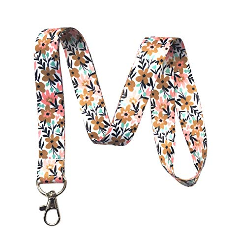 Floral Print Lanyard Key Chain Id Badge Holder (Modern)