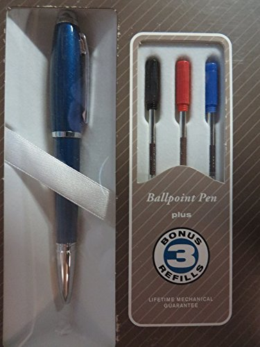 Cross Dubai Blue Lacquer W Chrome Appts Ballpoint Pen with 3 Extra Refills