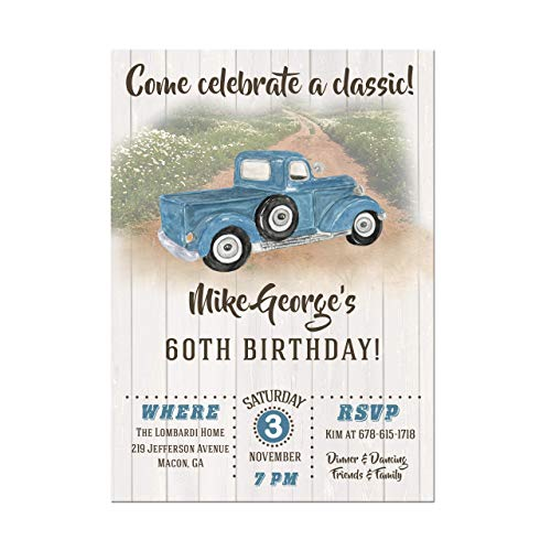 Vintage Truck Adult Masculine Birthday Party Invitations in Red or Blue, Base price is for a set of 10 5x7 inch card stock invitations with white envelopes -