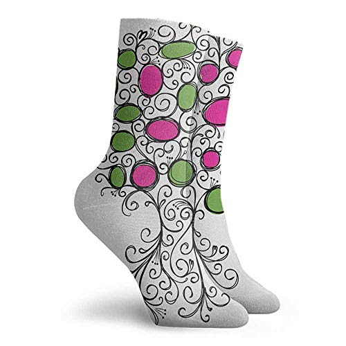 Tree of Life Crew Socks Light Cushion Athletic Socks Pink Green Black (Pink Sock Monkey Lovey)
