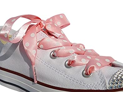8bf7717967d2b0 High Fashion Pink Polka Dot Satin Ribbon Shoe Laces   Shoe Strings To Fit  Converse Sneakers