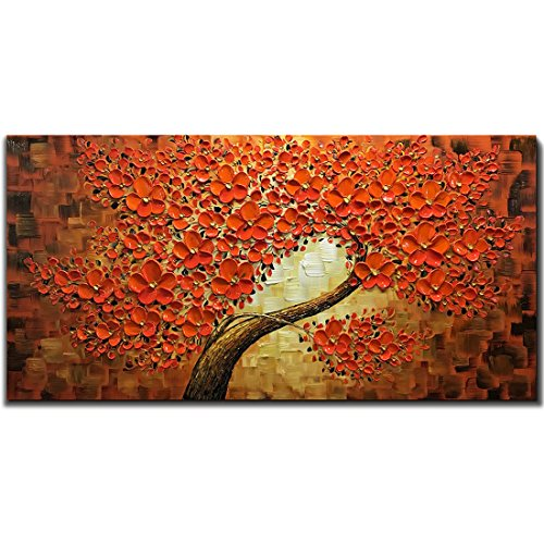 """V-inspire Art, 2448"""" Red Wall Art Modern Hand-Painted Red Lucky Tree Oil Painting Flower Art Canvas Art Living Room White Wall Decoration Hanging"""