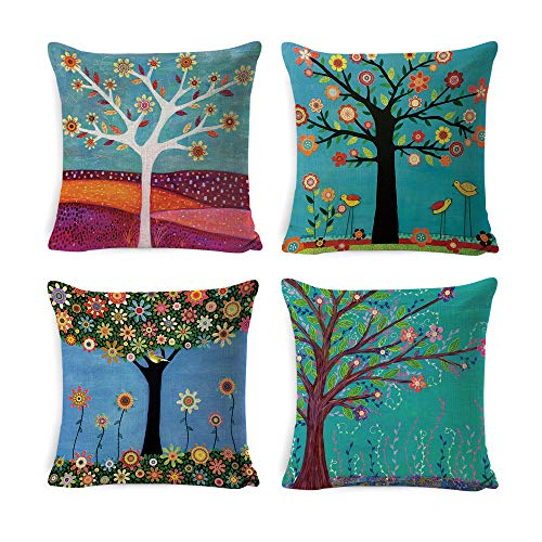 DUSEN Decorative Throw Pillow Covers for Couch, Sofa, or Bed Set of 4 18 x 18 inch Birds and Trees Design Cotton Linen Cusion Cover