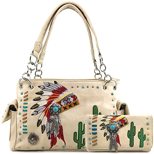 American Purse (Justin West Native American Chieftain Cactus Feathers Embroidered Studded CCW Concealed Carry Shoulder Purse Handbag (Beige Handbag and Wallet))