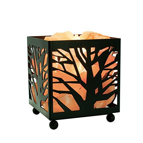 Himalayan Glow 1351 Unique Tree Design Basket Lamp Night Light with Salt Chunks Bulbs and Dimmer Switch
