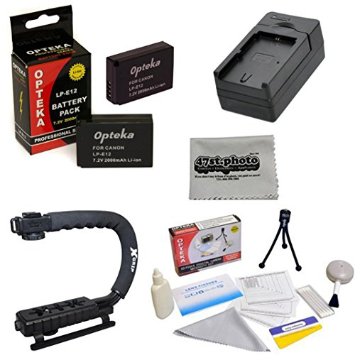 2 Extended Life Replacement Battery Packs for the Canon LP-E12 LPE12 2000MAH Each 4000MAH in Total for The Canon EOS M M2 Rebel SL1 100D DSLR Digital Camera | 2 Batteries In Total + 1 hour AC/DC Rapid Battery Charger + Opteka X-GRIP Action Stabilizing Han by Opteka