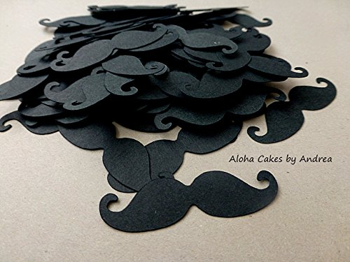 Black Mustache Confetti, Paper Cut Outs, 2 inches, Its A Boy, Little Man Party, Mustache Bash, Baby Shower Decorations, Table Scatter, 1st Birthday Party, Set of 100 pieces (Little Man Decorations For Baby Shower)
