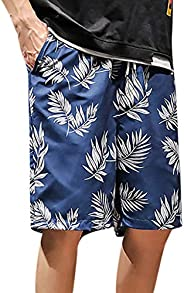 WANQUIY Men's Quick Dry Swim Printed Trunks Beach Shorts Men's Board Shorts Swim Trunks with Mes