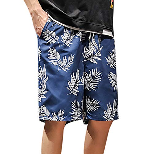 Pongfunsy Mens Swim Trunks Summer Funny Graphic Medium Length Drawstring Casual Beach Surfing Swimming Shorts S-XXL Blue