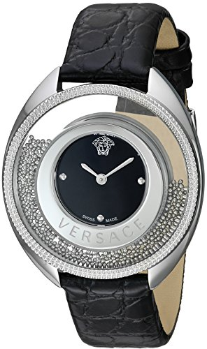 Versace-Womens-DESTINY-SPIRIT-Small-Swiss-Quartz-Stainless-Steel-and-Leather-Casual-Watch-ColorBlack-Model-VAR010016