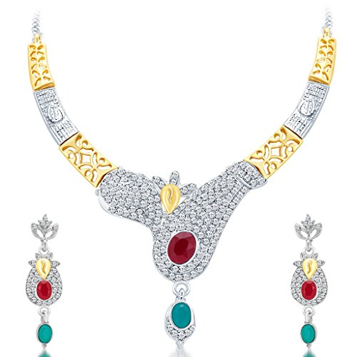 Sukkhi Women's Glorious Gold And Rhodium Plated Ad Necklace Set 40 by Sukkhi