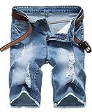 NITAGUT Men's Fashion Ripped Short Jeans Slim Fit Denim Short Light Blue-US 38