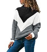 Acelitt Women's Long Sleeve Crewneck Knit Pullover Sweater, S-XXL