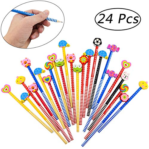 Etmact 24 Pack Kids Wooden Pencils,Colorful Stripe Pencil with Cute Animals Eraser for Children And School Supplies Pencil Pencils For Kids Pencil Erasers Pencil With Eraser Cute Pencil
