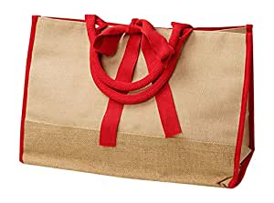 Reusable Jute Burlap Bags for Grocery Shopping, Travel, Daily Use Carry-All Tote (Red)