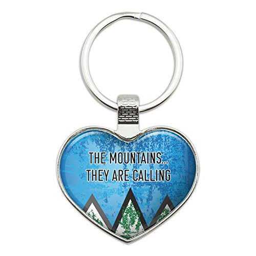 The Mountains They are Calling Hiking Nature Heart Love Metal Keychain Key Chain Ring