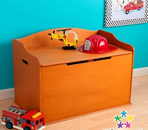 Toy Box, Honey, Functional , Safety Hinge on Lid Protects Young Fingers from Getting Pinched, Made of Wood, Doubles as a Bench for Additional Seating, Bundle with Expert Guide for Better Life by Home X Style