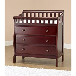 Orbelle Trading Changing Station with 3 Drawers, Cherry