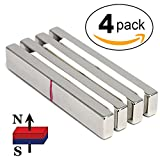 cms Magnetics Neodymium Bar Magnets Grade N45 3'' x 1/2'' x 1/4'' 4 Pieces Super Strong Magnets for Sale Cabinets Schools Crafts Magnets Door Magnets