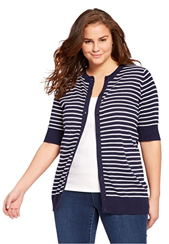 Multi Stripe Wrap Sweater (Women's Plus Size Elbow-Sleeve Classic Cardigan Sweater Navy Stripe,L)