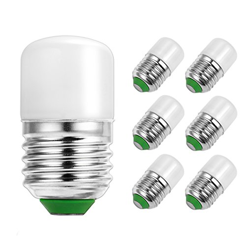 LOHAS LED Night Light Bulb, 2 Watt S11 S6 C7 LED Night Bulbs, 25 Watt Equivalent E26 Edison Base, Cool White 6000K, 360 Degree Beam Angle, 180LM LED Lamp Bulb For Home, Not-Dimmable(6 (25 Led Lamp)