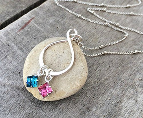 edfe196235 Infinity Birthstone Necklace for women - Sterling Silver Couples Necklace -  Swarovski Birthstones - Perfect Anniversary Gift - Gift for Her -  Personalized ...