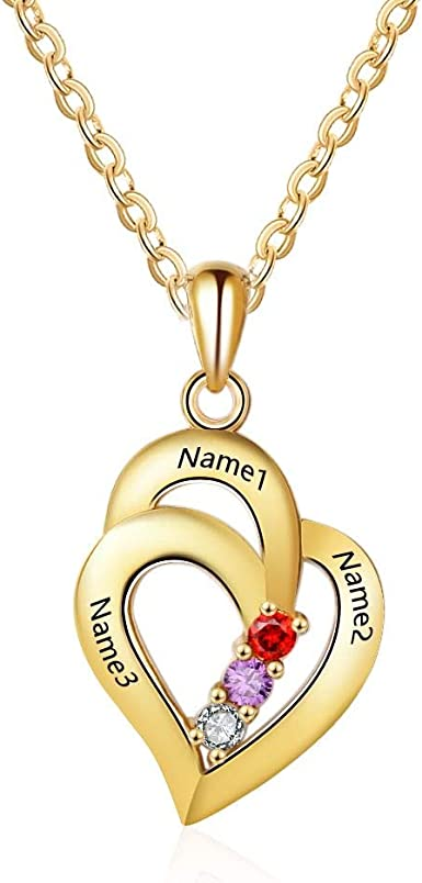 Personalized Iced Out Heart Name Necklace Family name NecklaceHeart Name Necklace With cubic Zircon Gift for Mom Valentine/'s Day Gift