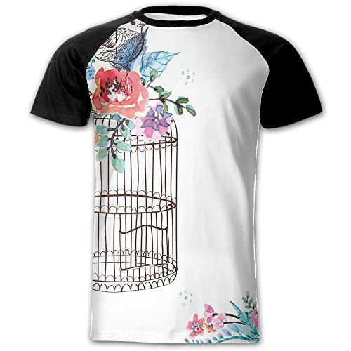 Newfood Ss Sketch of A Bird On an Empty Cage with Colorful Flowers Nature Imagery Men's Short Sleeve Raglan T (Ss Short Cage)