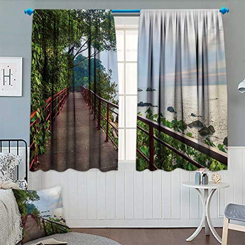 - Beach Patterned Drape for Glass Door Walkway and Jogging Track by Sea in Cinque Terre Italian Mediterranean Vacation Waterproof Window Curtain 55