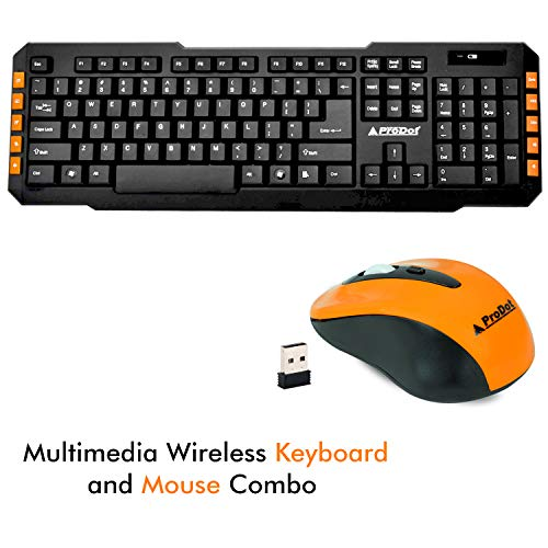 Prodot  Gold Series  TLC 107+145  Wireless  Multimedia Keyboard and Mouse Combo  Color: Peel Orange