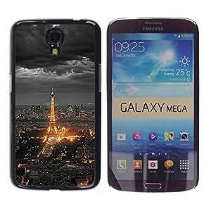 TopCaseStore / la caja del caucho duro de la cubierta de protección de la piel - Eifel Tower Paris City Tourist Night Clouds - Samsung Galaxy Mega 6.3 I9200 SGH-i527