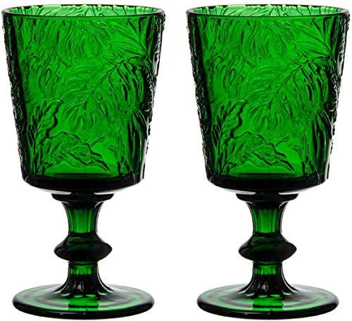 Jomop Handmade Pressed Colored Stemmed Wine Glasses Set Green (2, Wine Goblet)
