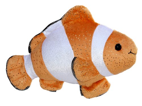 Aurora World Sea Sparkles Plush Coral Clown Fish, 10