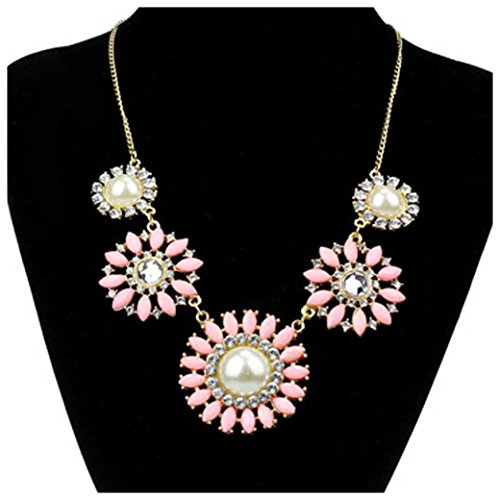 Inkach Resin Rhinestone Pearl Daisy Flower Collar Bib Choker Necklace Jewelry (Pink)