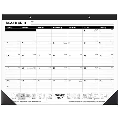 2021 Desk Calendar by AT-A-GLANCE, Monthly Desk Pad, 21-3/4″ x 17″, Standard, Ruled Blocks (SK240021)