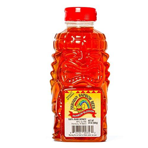 (HAWAIIAN RAINBOW BEES Raw Rainbow Blossom Honey Tiki Bottle, 24 Ounce)